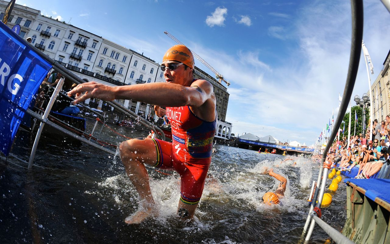 Javier Gomez emerging from the swim in a race