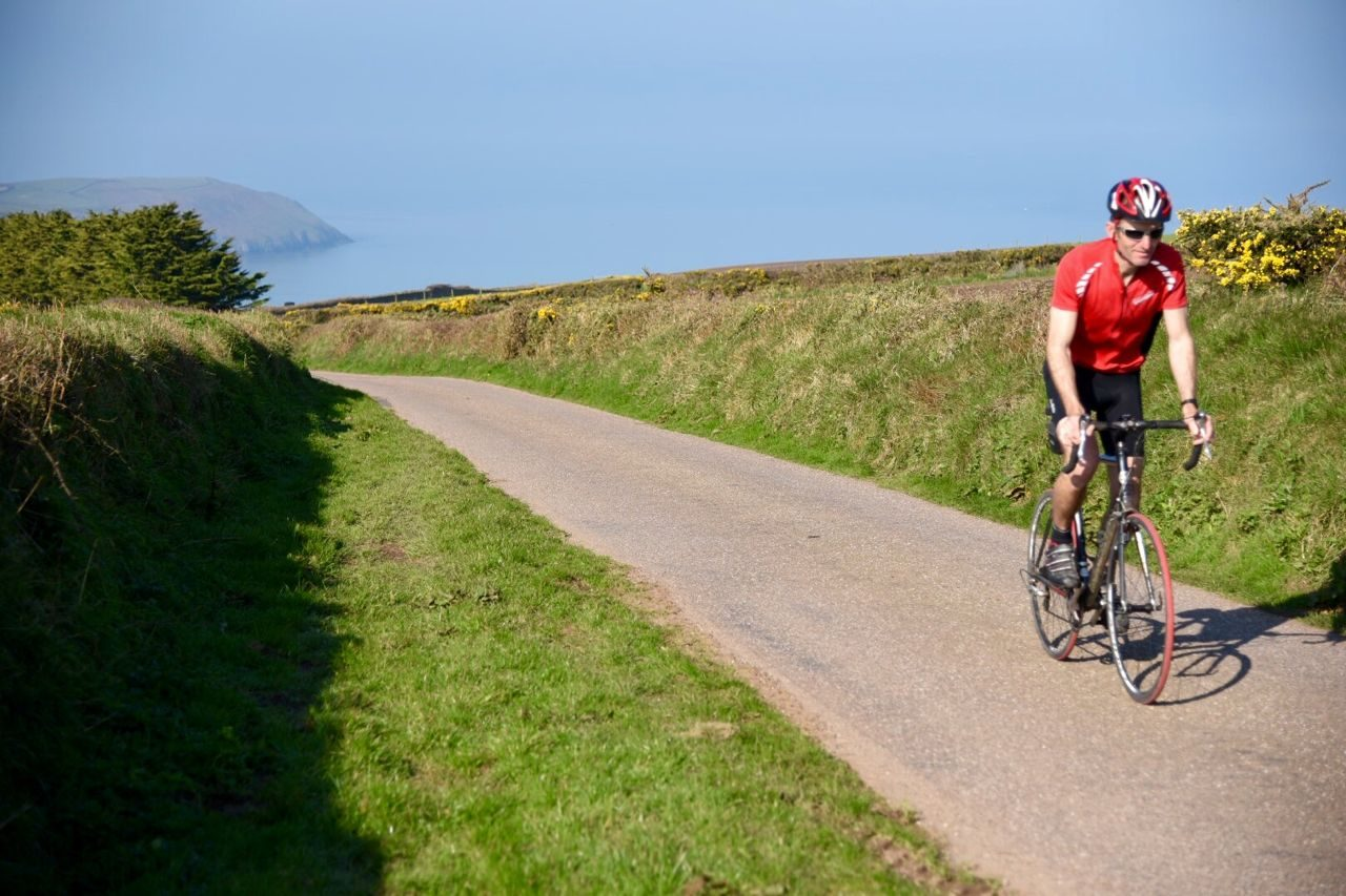 Triathlete cycling in North Devon