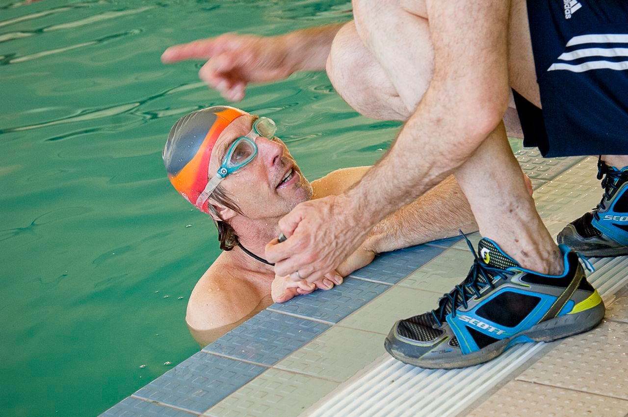 Swimmer being coached