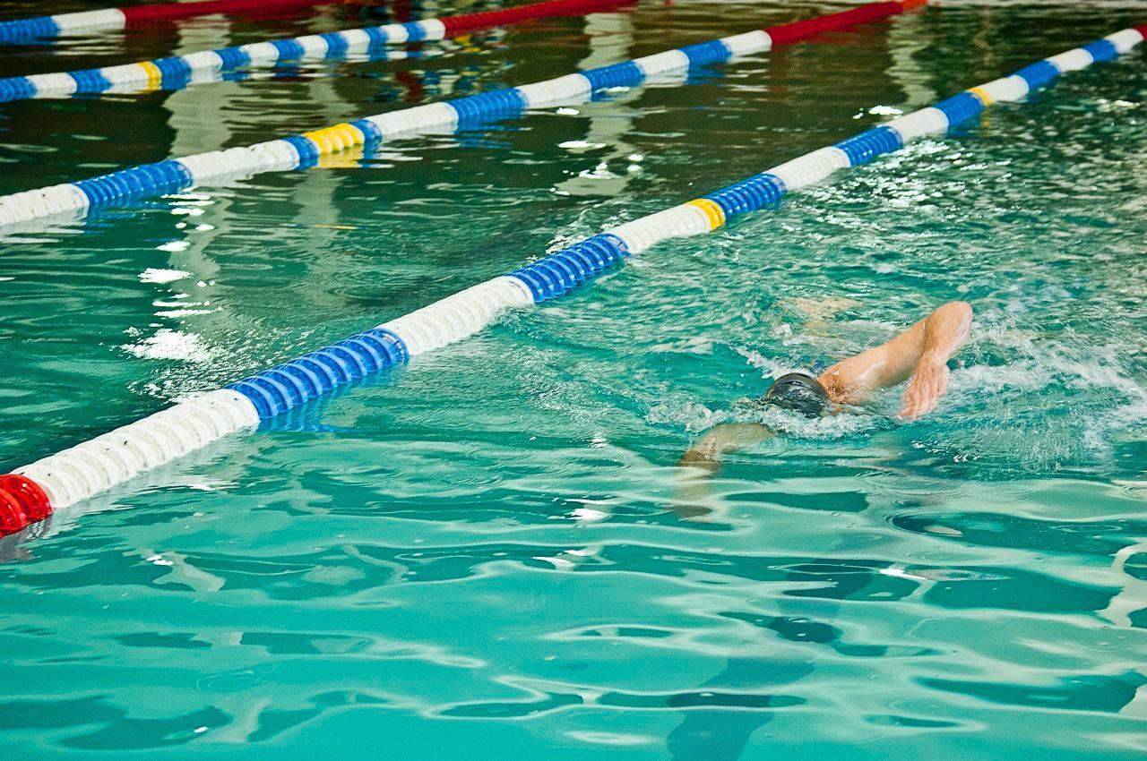Triathlete in pool training