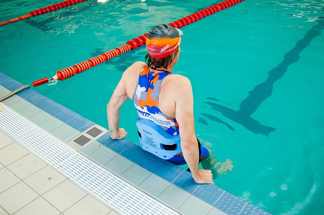 Swimmer in training