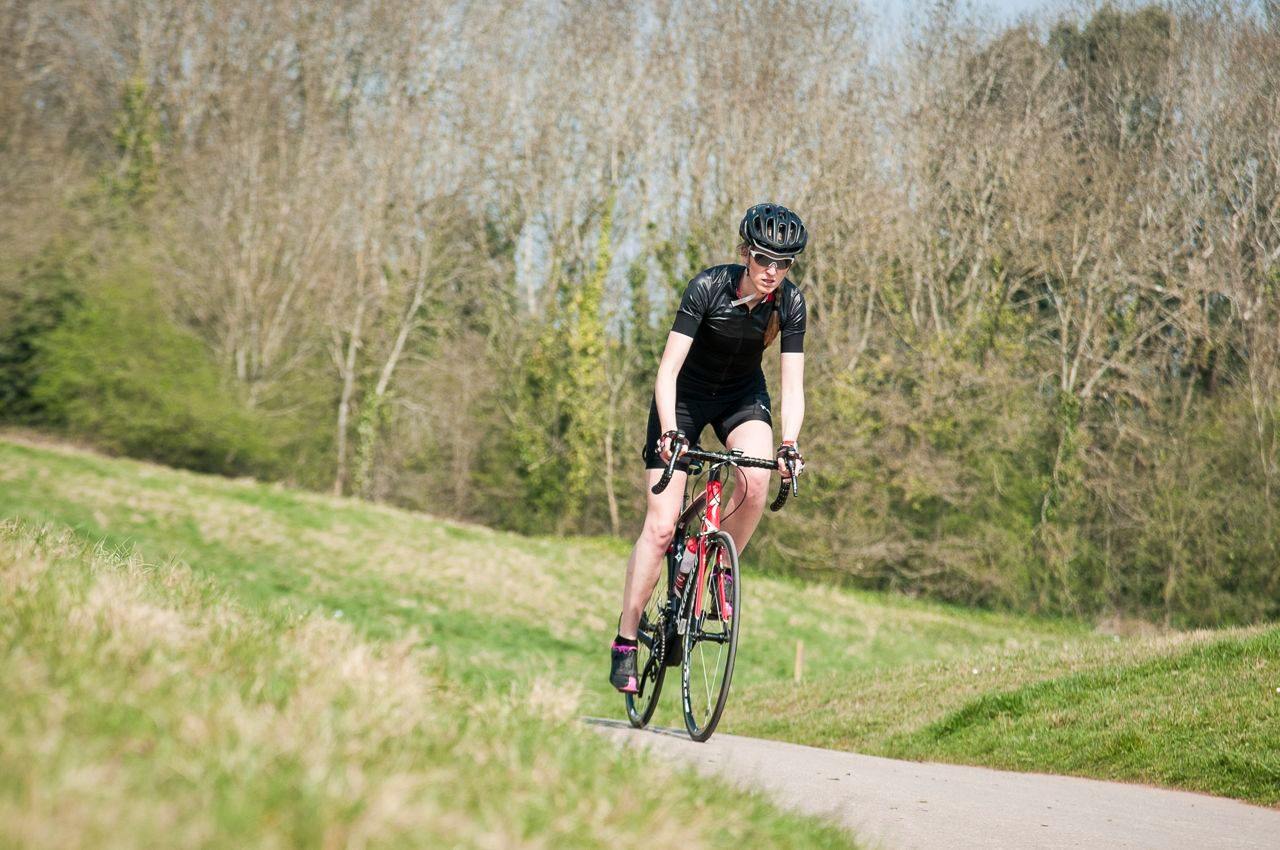 Katy Campbell in bike training