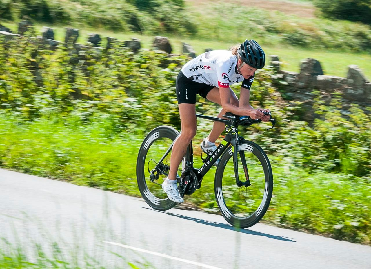 Duathlete in bike training