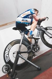 Cyclist on a turbo trainer