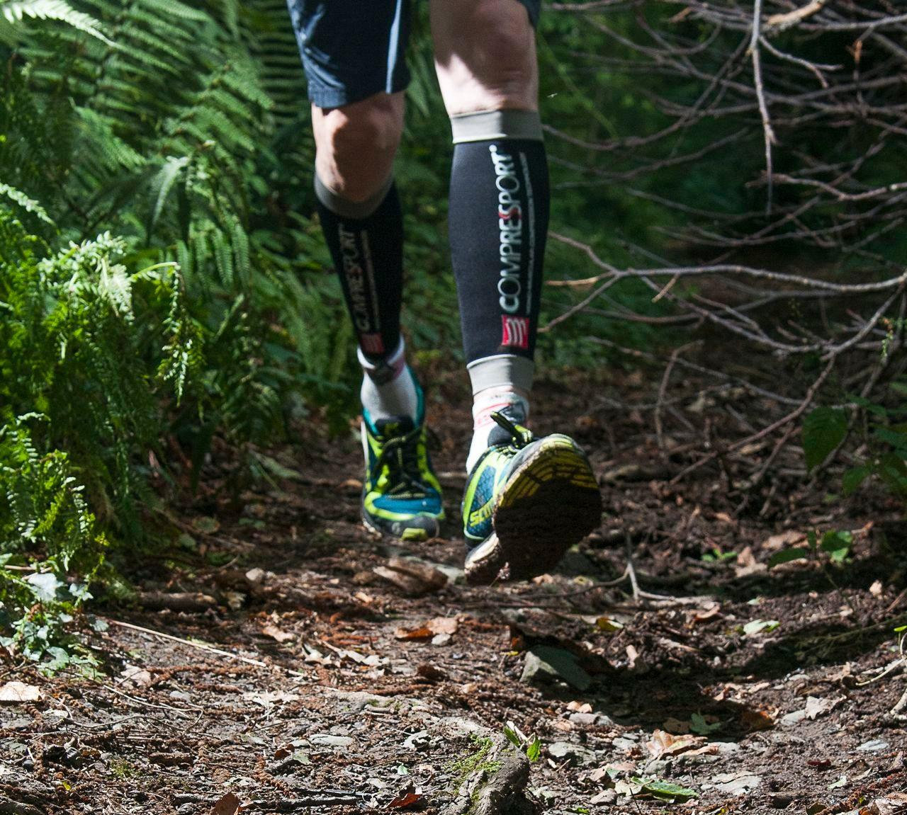 Triathlete wearing calf guards