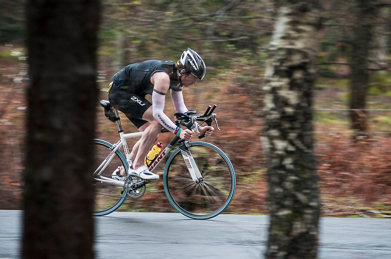 Triathlete racing with budget gear