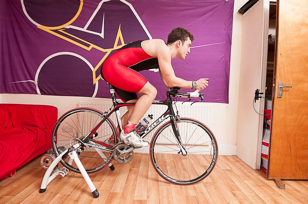 Triathlete on the turbo trainer