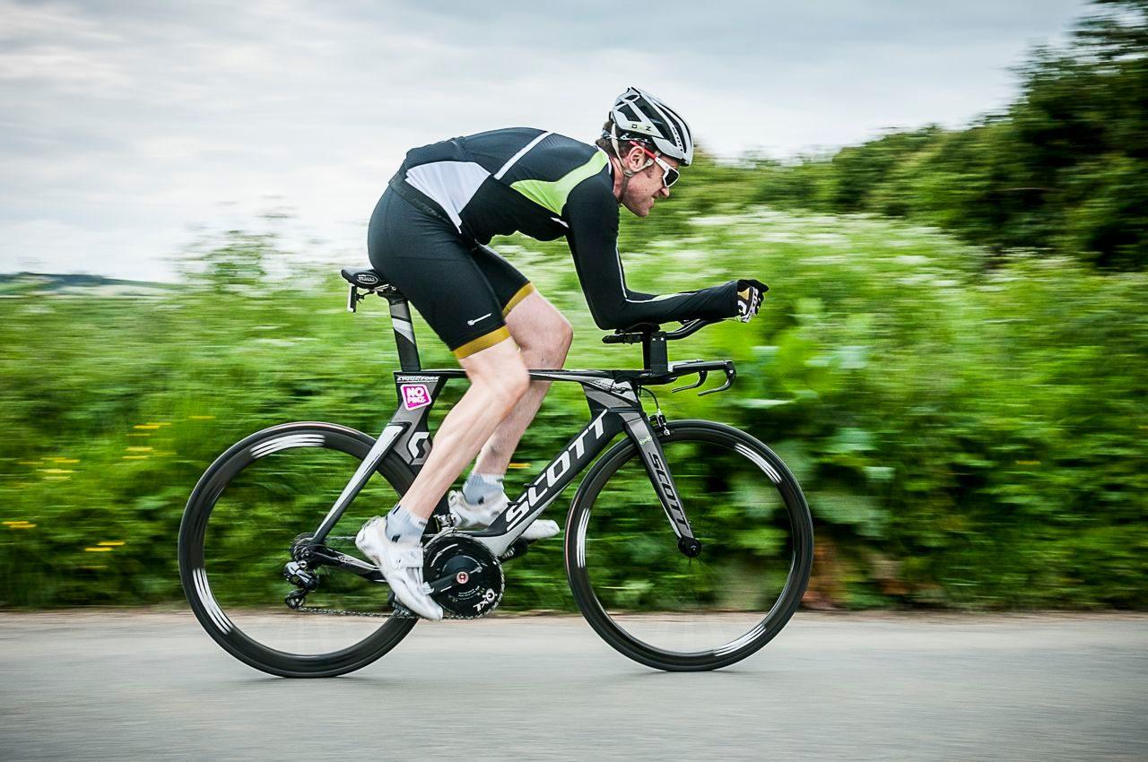 Triathlete on bike training