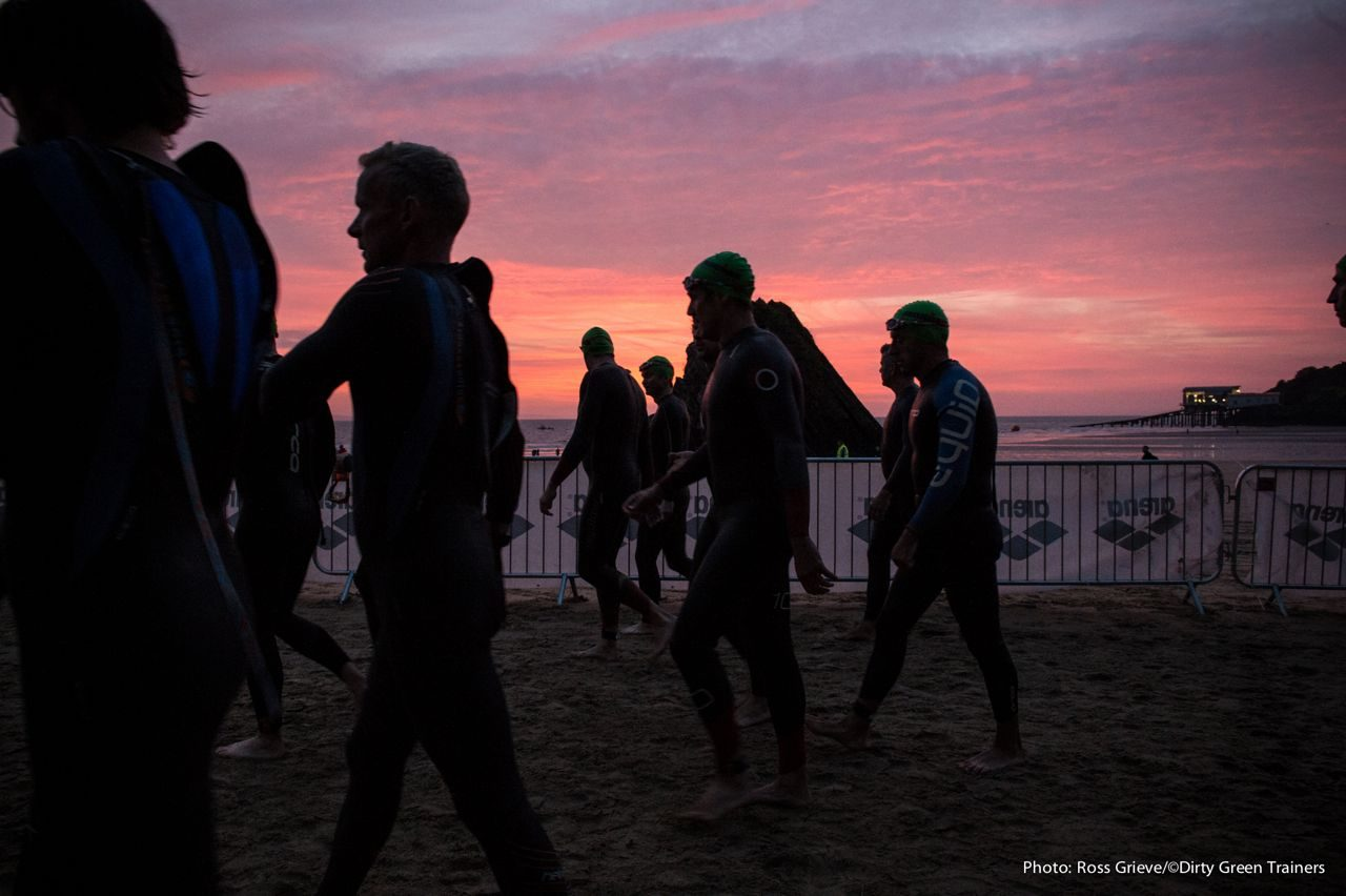 Red sky at start of Ironman Wales 2014