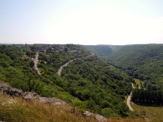View to Rocamadour clinging to the cliff side