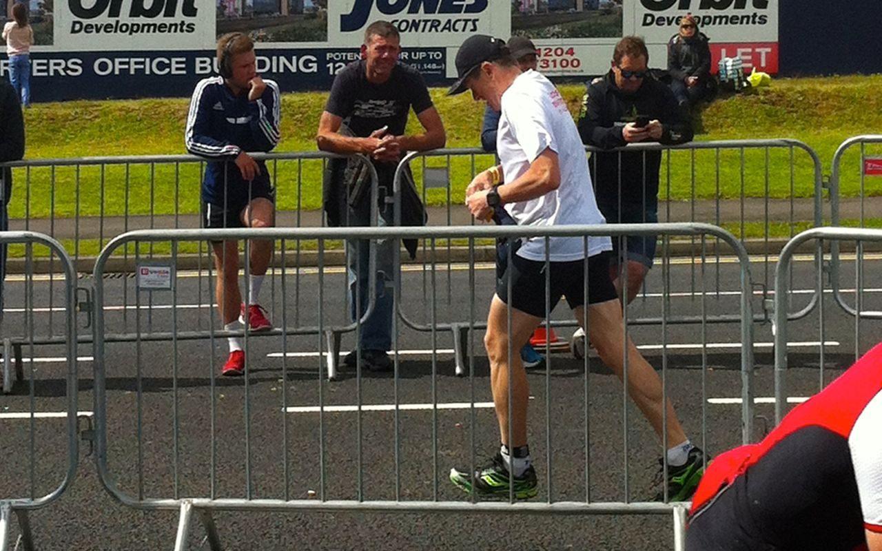 David Waring on the run at Ironman UK
