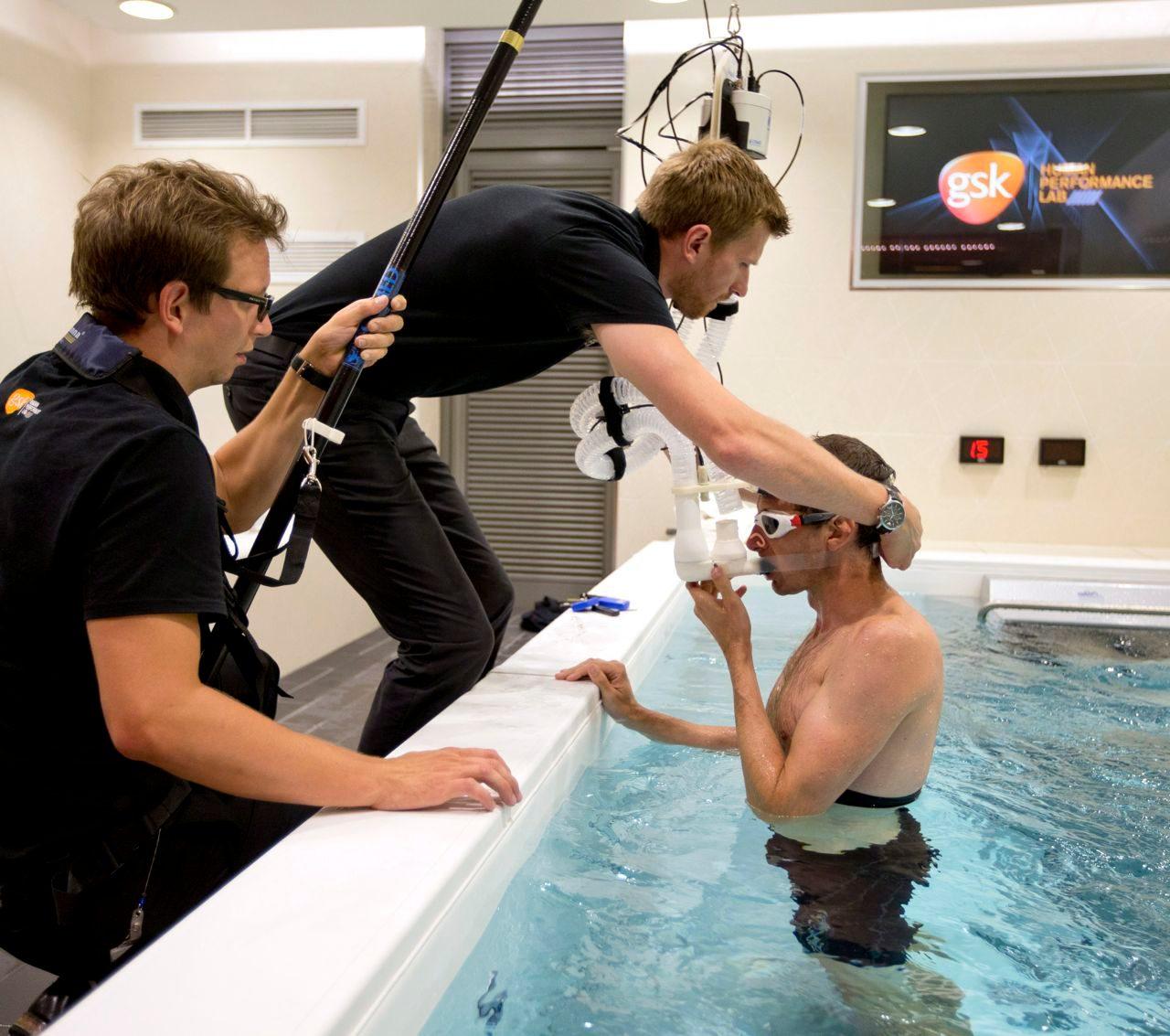 Tim Heming in the swim flume at GSK Human Performance Lab