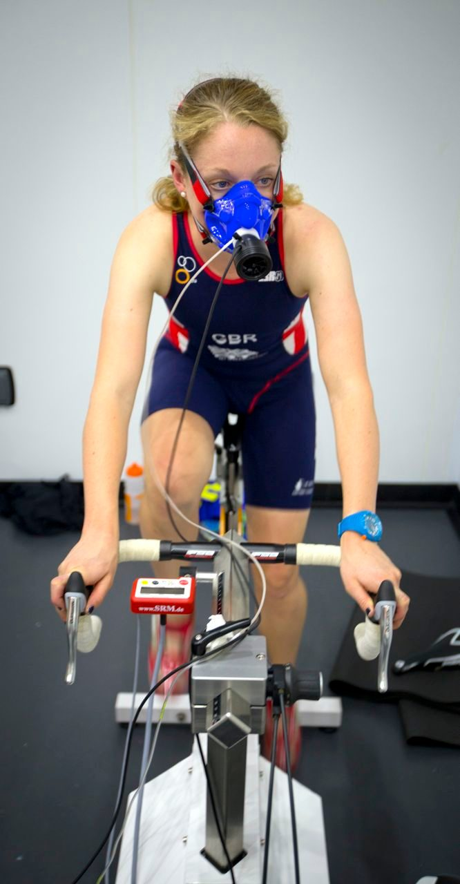 Non Stanford on the static bike at GSK Human Performance Lab
