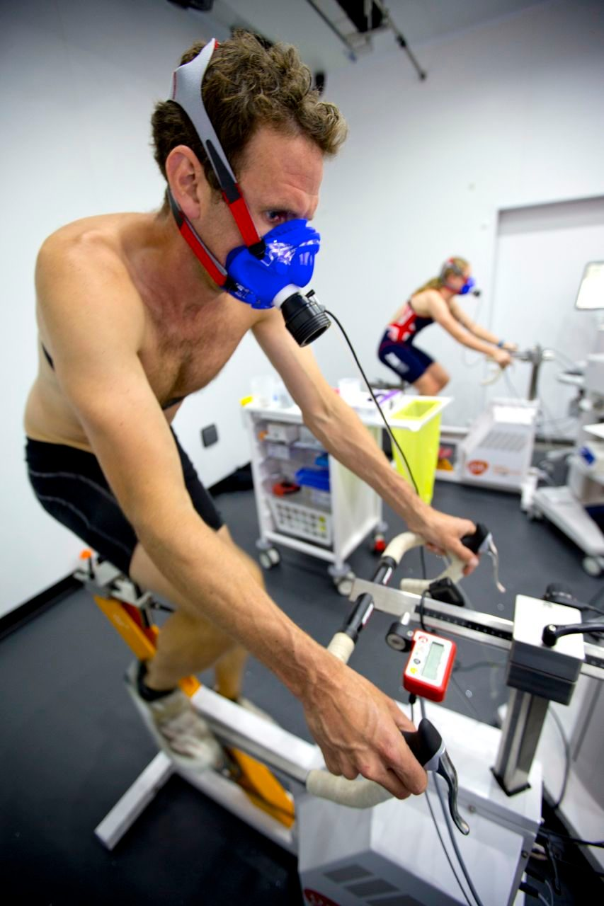 Tim Heming and Non Stanford on the static bikes at GSK Human performance Lab