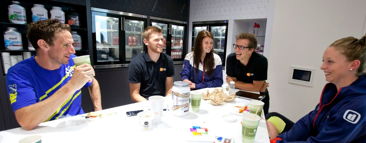 Tim Heming, Non Stanford, Lauren Steadman and Faye McClelland at the GSK Human Performance Lab