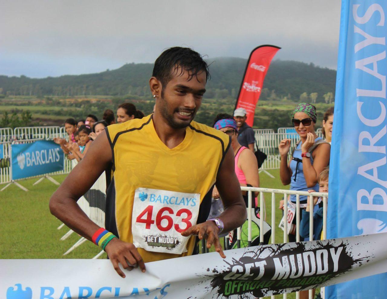 Men's winner of Get Muddy Mauritius