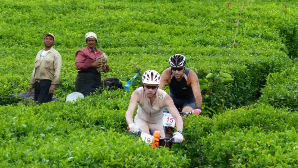 Triathletes cycling through a tea plantation at Get Muddy Mauritius