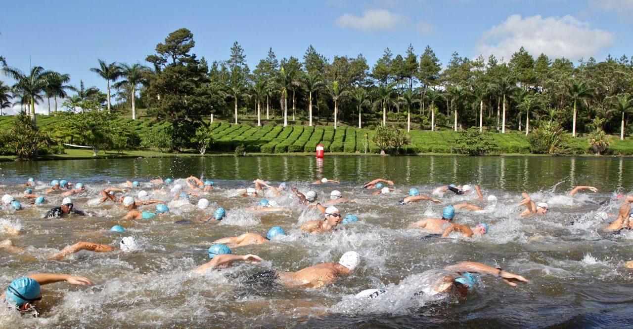 Triathletes in the swim at Get Muddy Mauritius