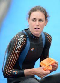 Gwen Jorgensen getting ready to race