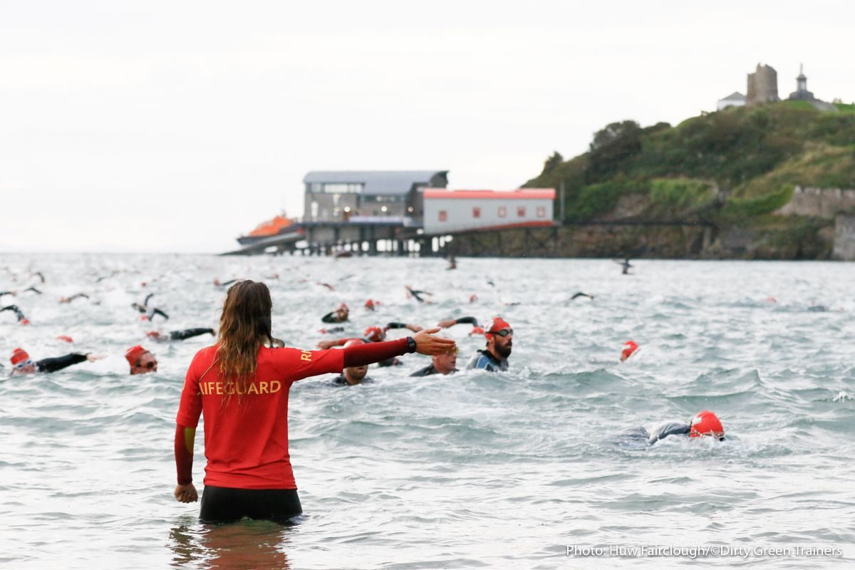 Leaders leave the swim at Ironman Wales 2015