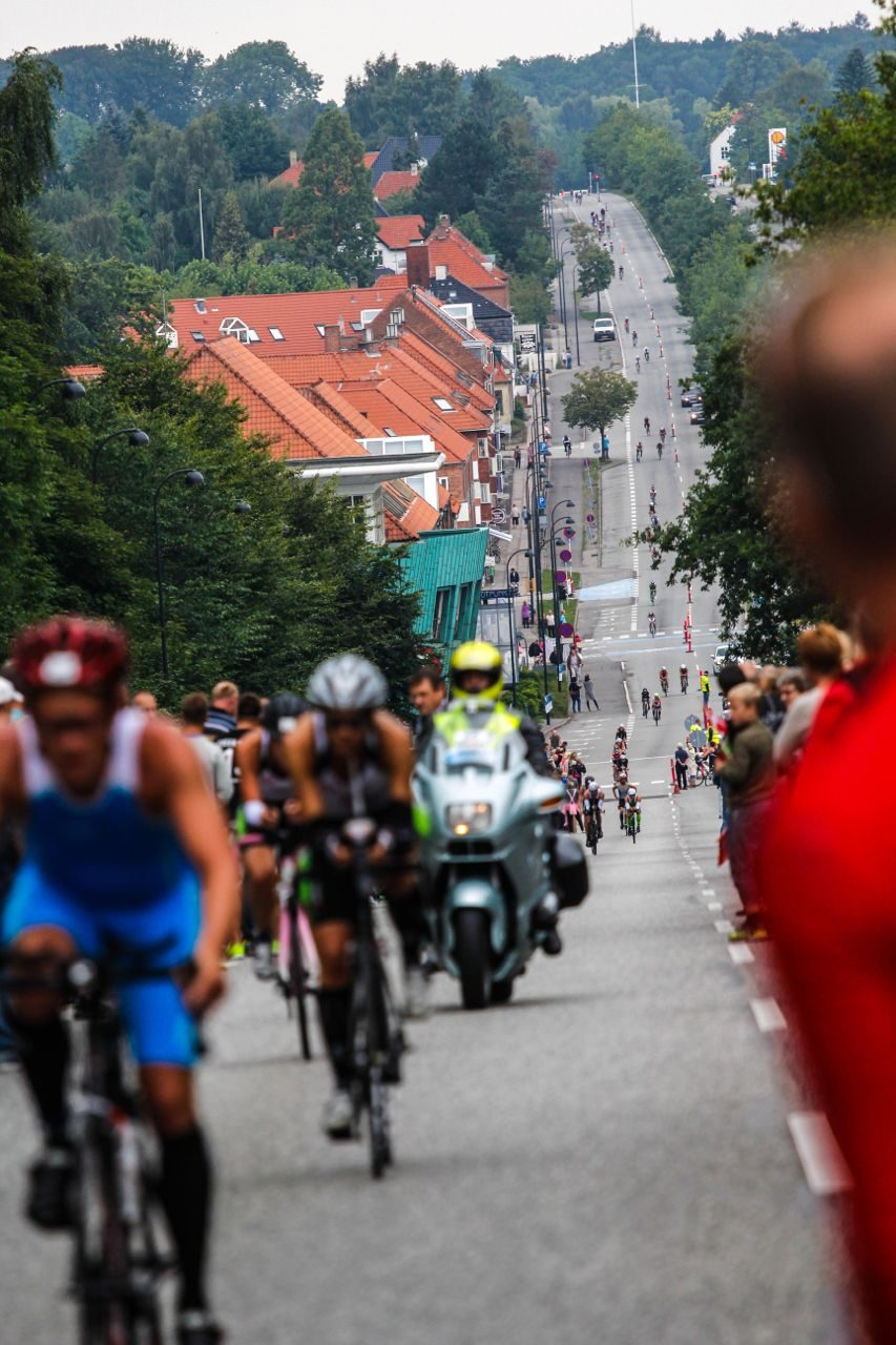 Athletes on the bike course at Ironman Copenhagen