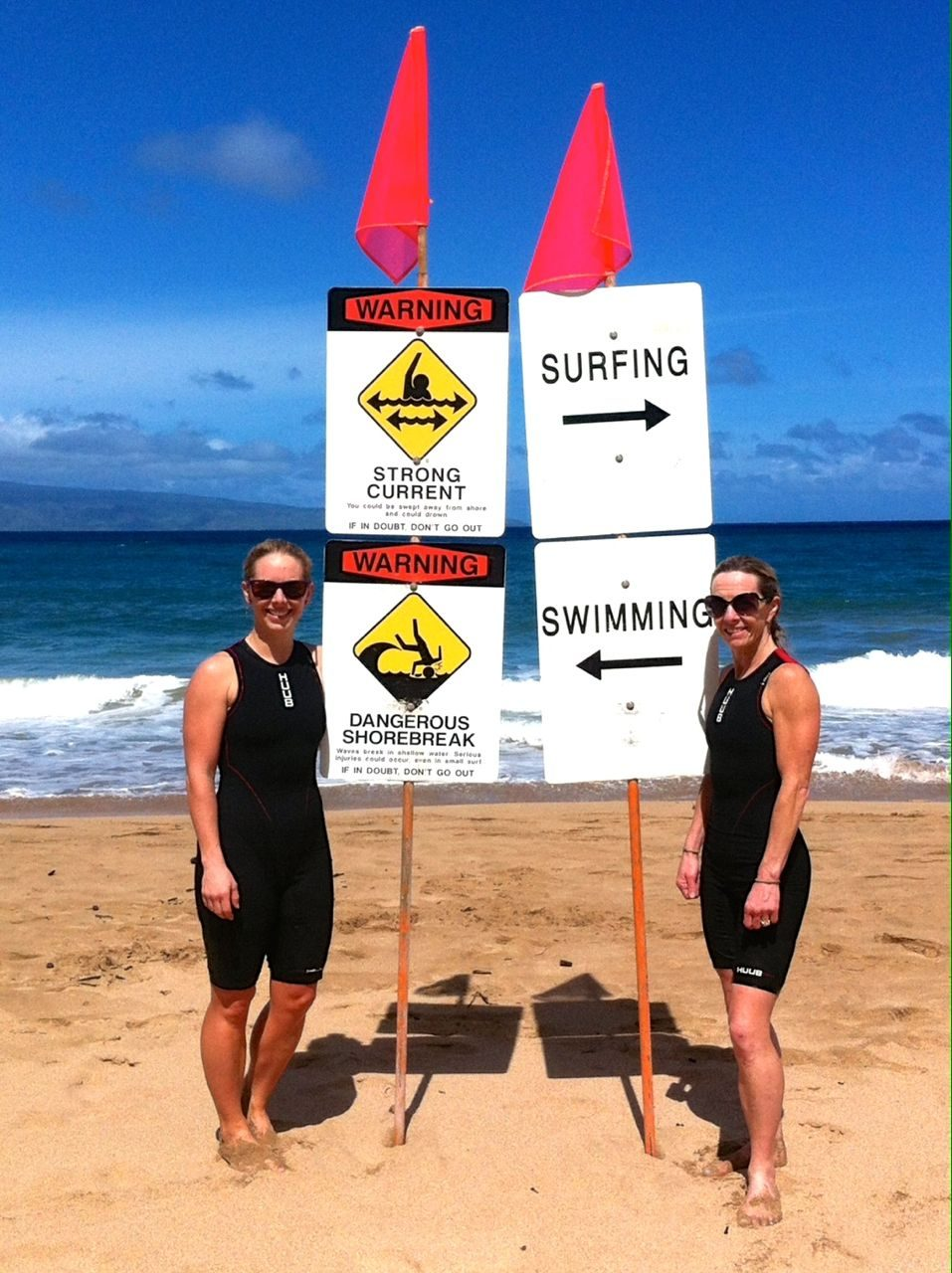 Leanne Hier and her mum on DT Fleming beach, Hawaii