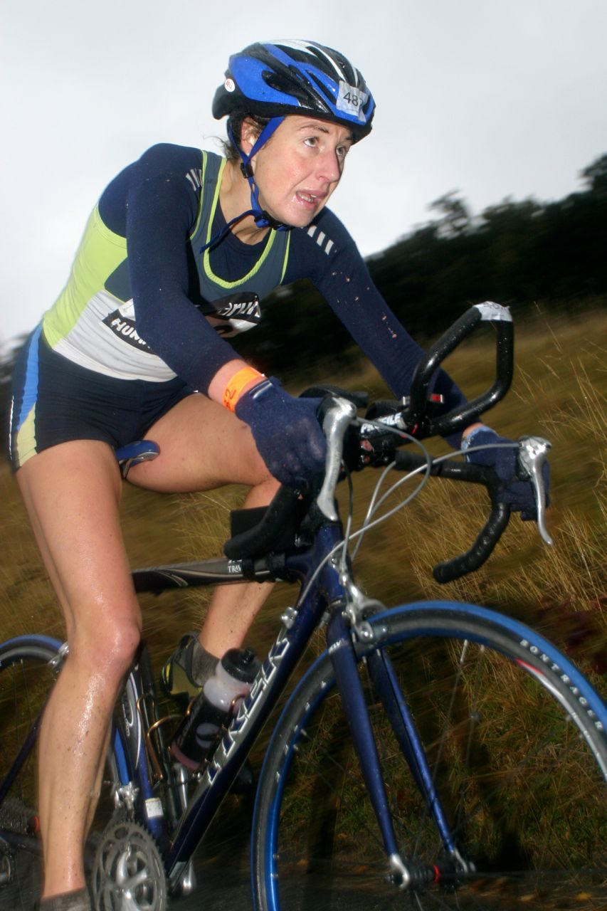 Female athlete on the bike at the BallBuster