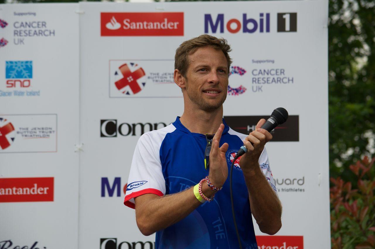 Jenson Button handing out awards at the Jenson Button Trust Triathlon