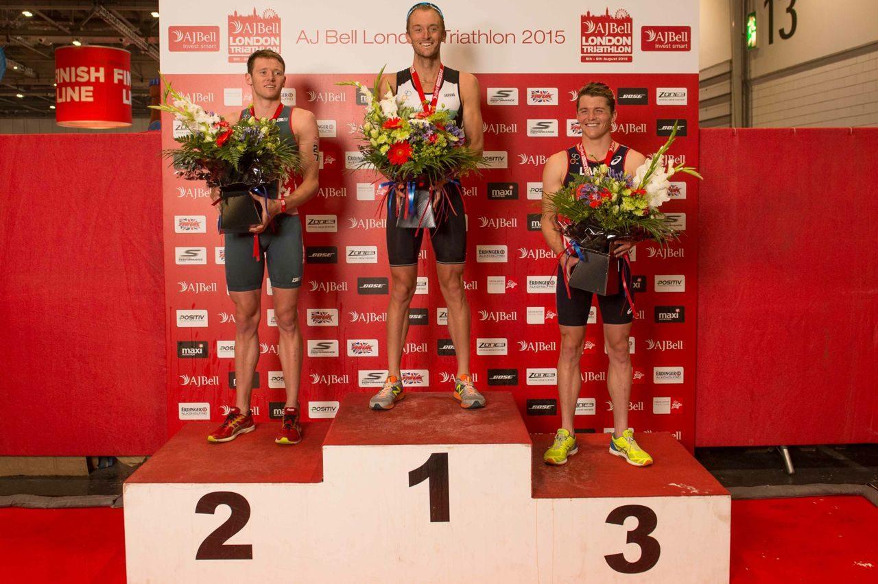 Men's elite podium at London Triathlon 2015