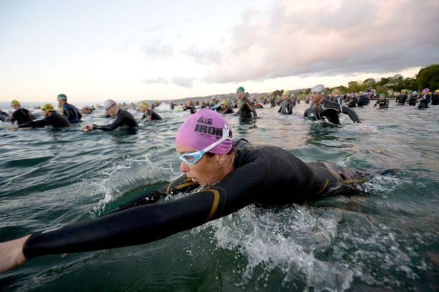 Triathletes starting the swim at Ironman New Zealand