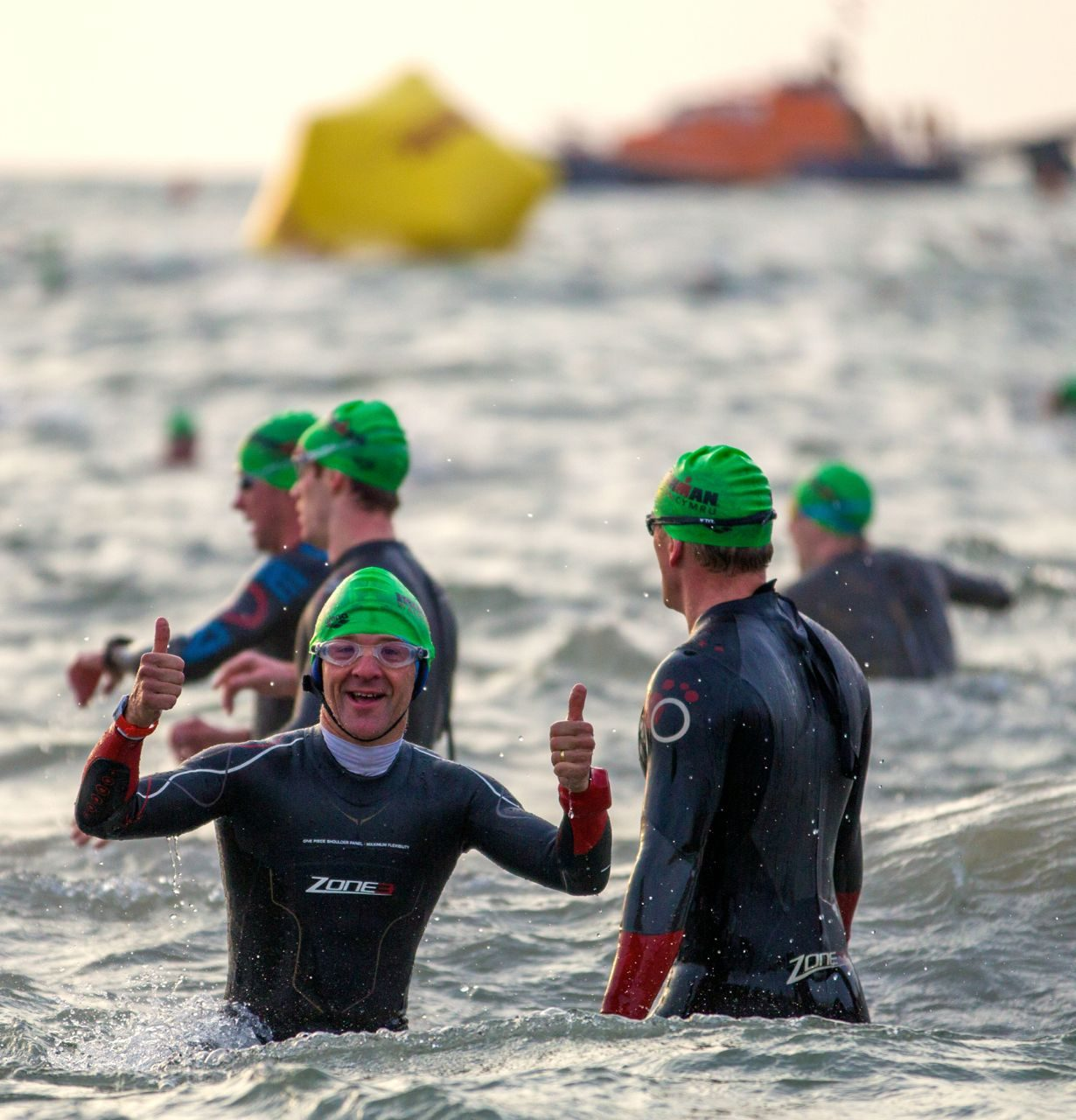 Mark Kleanthous in the water ahead of Ironman Wales