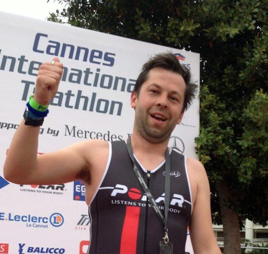 Matt Baird at the finish of Cannes Triathlon