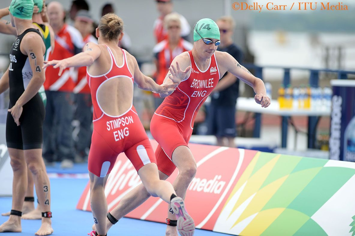 Jodie Stimpson and Alistair Brownlee racing in the mixed relay triathlon at Glasgow 2014