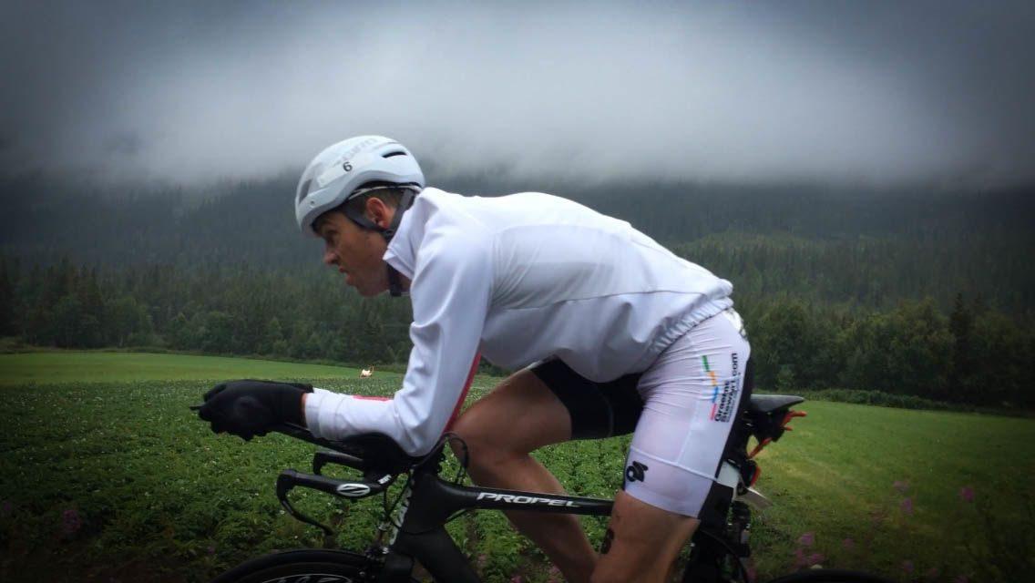 Graeme Stewart on the bike at Norseman 2014