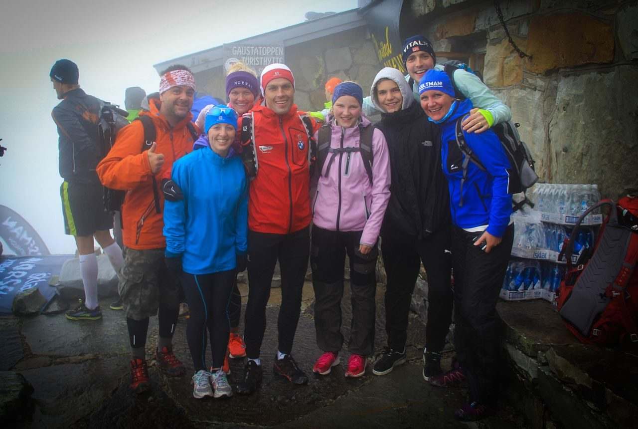 Graeme Stewart and friends at the finish of the Norseman 2014