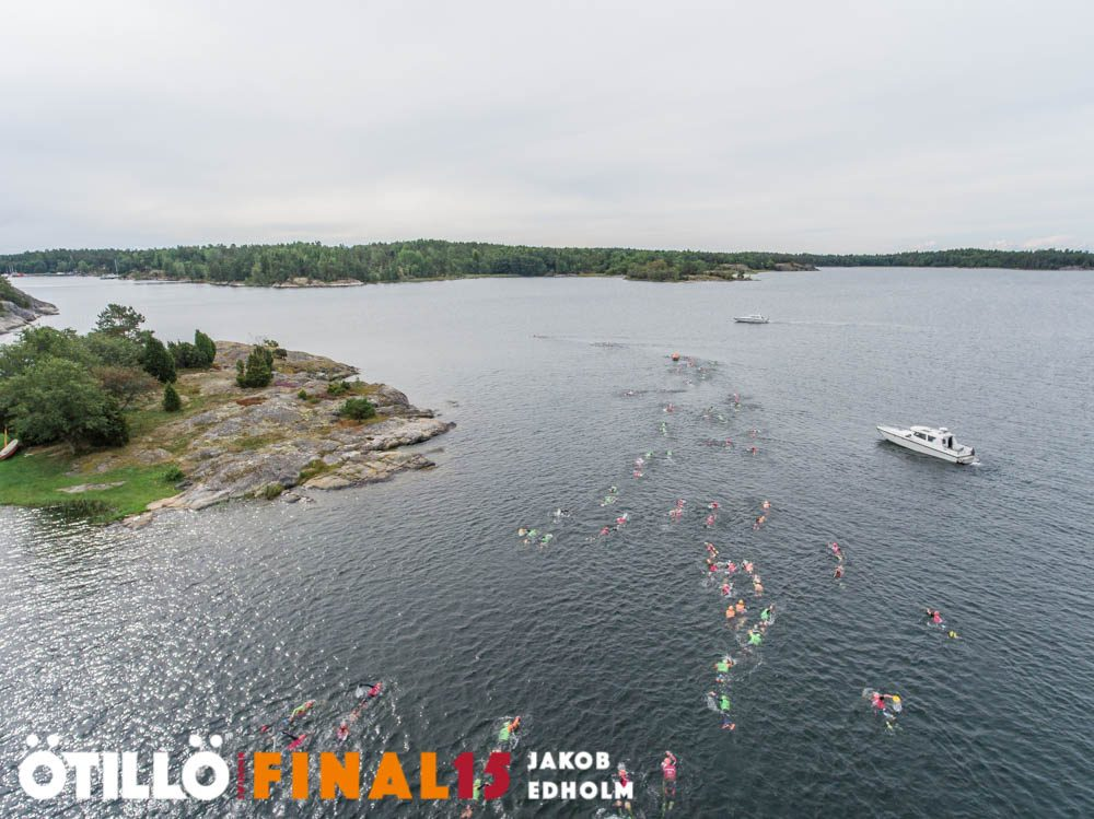 The first swim of the Final 15 ÖtillÖ course is the longest, at 1,150m and takes athletes round a bay. Image: Jakob Edholm