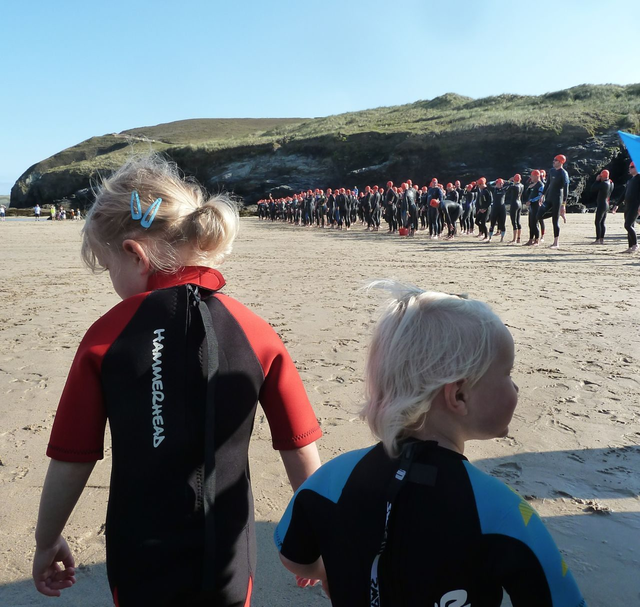 Lining up to start the Perranporth Extreme Surf Triathlon