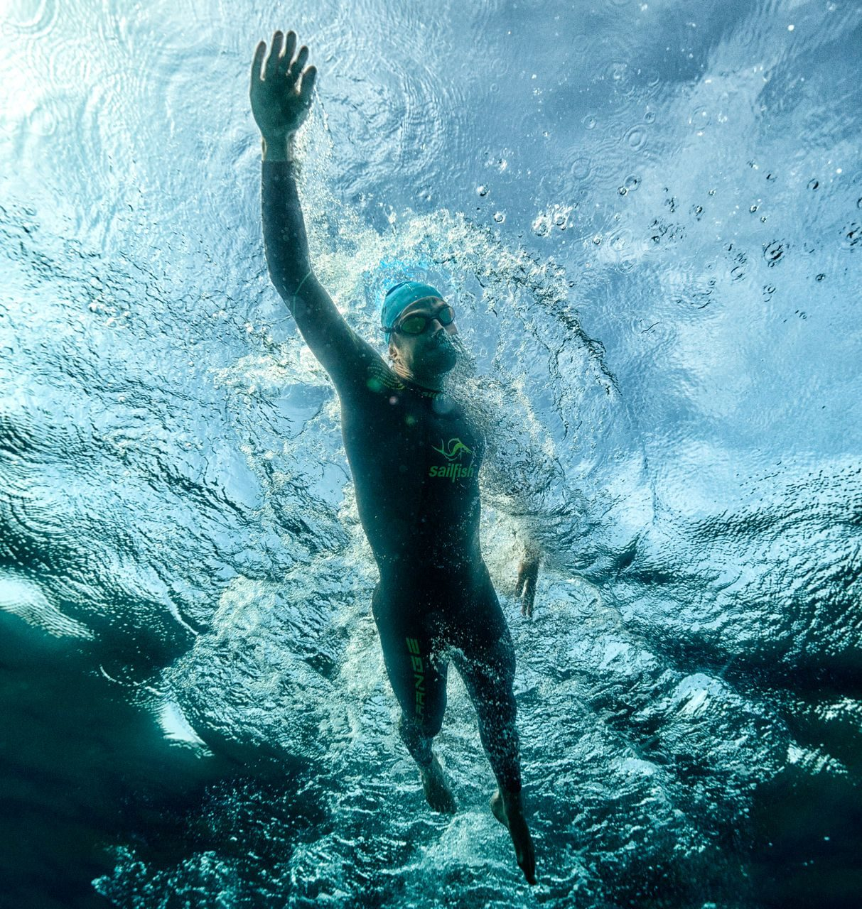 Athlete swimming in open water