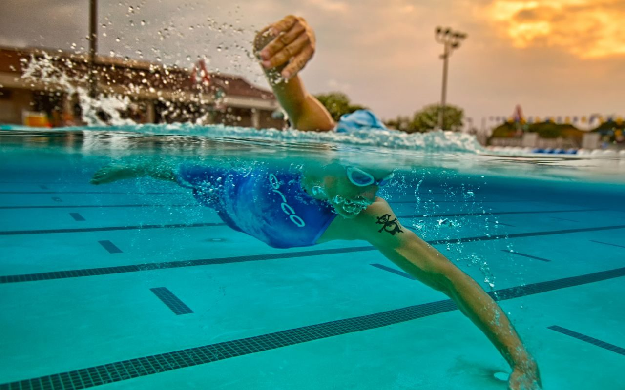 Triathlete in pool training