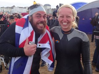 220 Editor Helen Webster joined Ross as part a group of 300 swimmers for the final swim into Margate. Image: 220 Triathlon/Gavin Parish