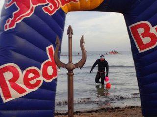 Ross Edgley exits the final swim of his world record swim around the UK coast. Image: Gavin Parish