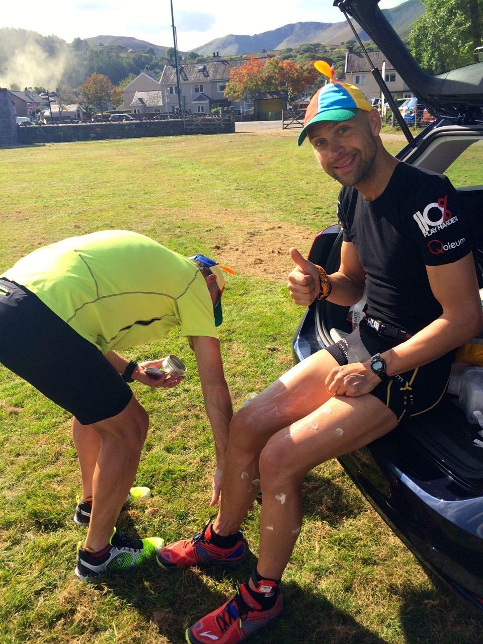 Luke Tyburski gets a rub-down during the Double Brutal Extreme Triathlon