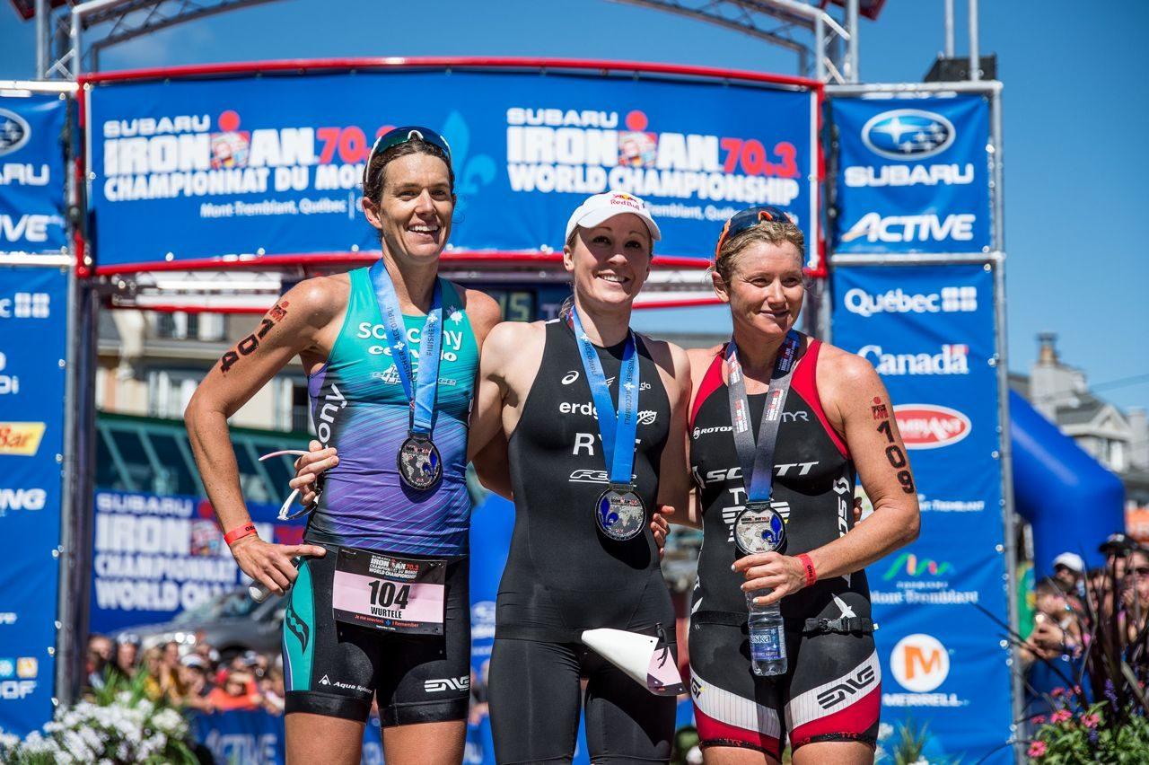Women's podium at Ironman 70.3 World Champs