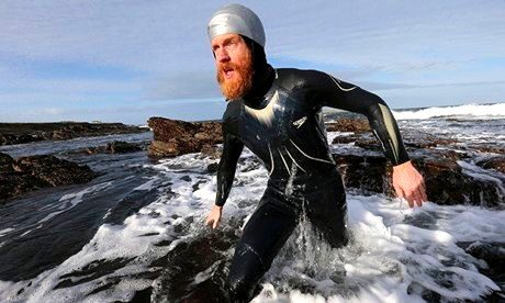 Sean Conway coming out of the water