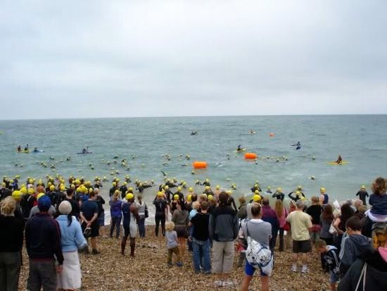 Swimmers at the South Coast Triathlon