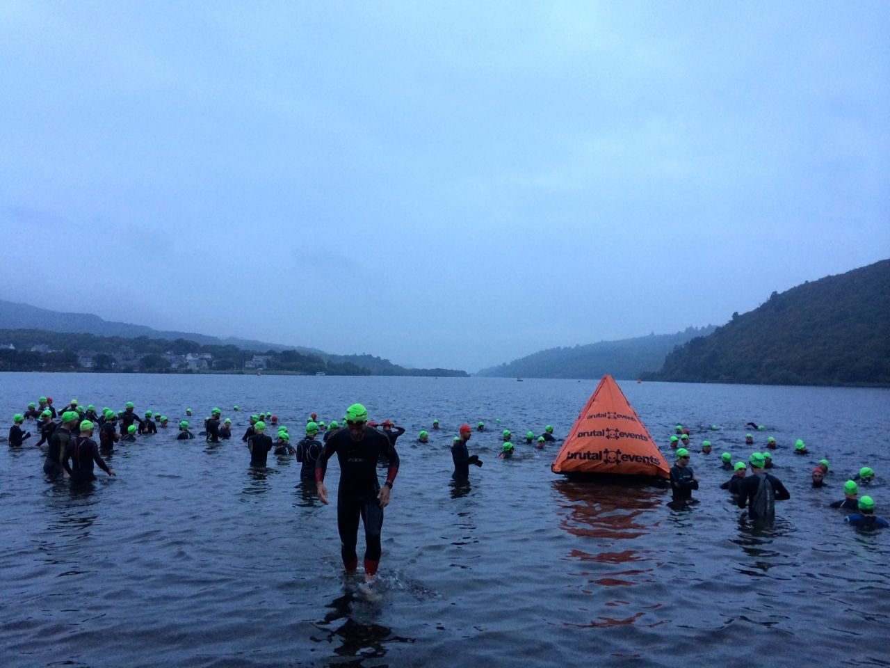 Athletes enter the water for the Brutal Extreme Triathlon