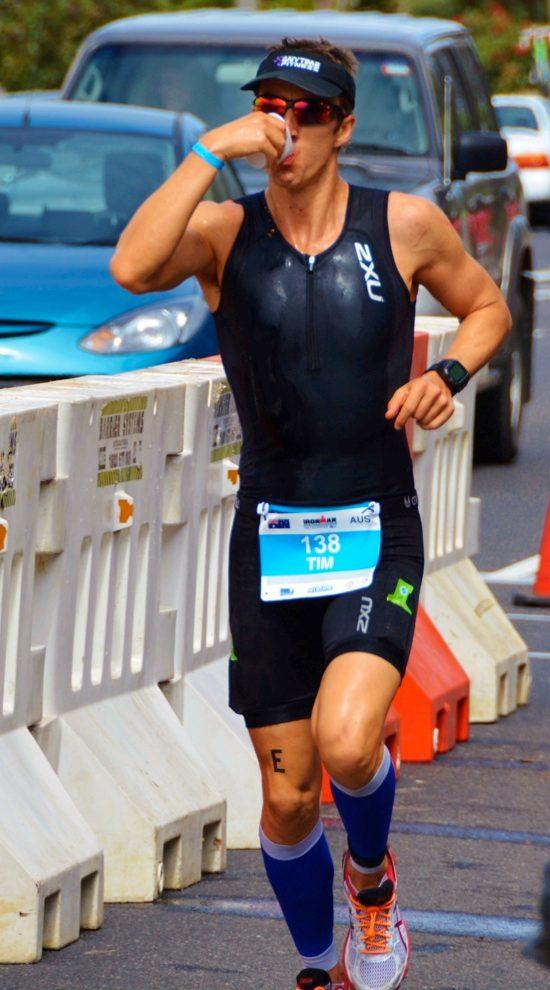 Tim Ballintine running at an Ironman
