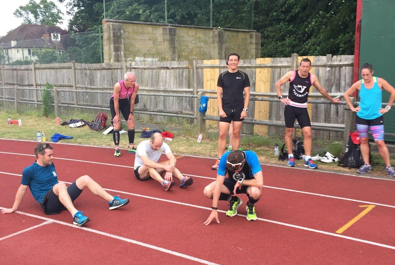 Viceroys triathletes at the running track