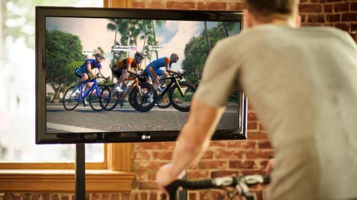 Cyclist using Wahoo Kickr Snap