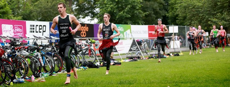 Triathletes in transition at Windsor Triathlon